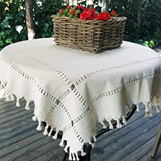 Secret Sea Collection Handmade Cotton Tablecloth Decorated with Blue Beads and Silver Glitter (36