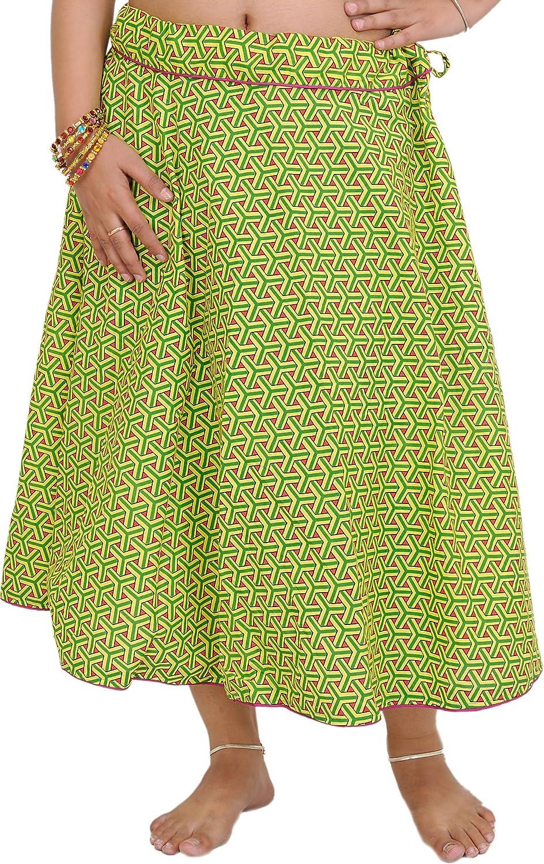 Exotic India Drawstring Printed Midi Skirt with Piping