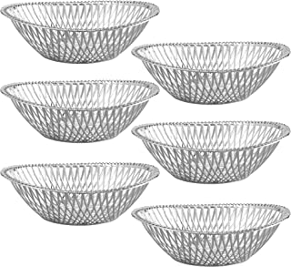 Impressive Creations Reusable Decorative Serving Basket – Plastic Fruit Basket – Bread Basket with Elegant Silver Finish – Functional and Modern Weaved Design – 6pk