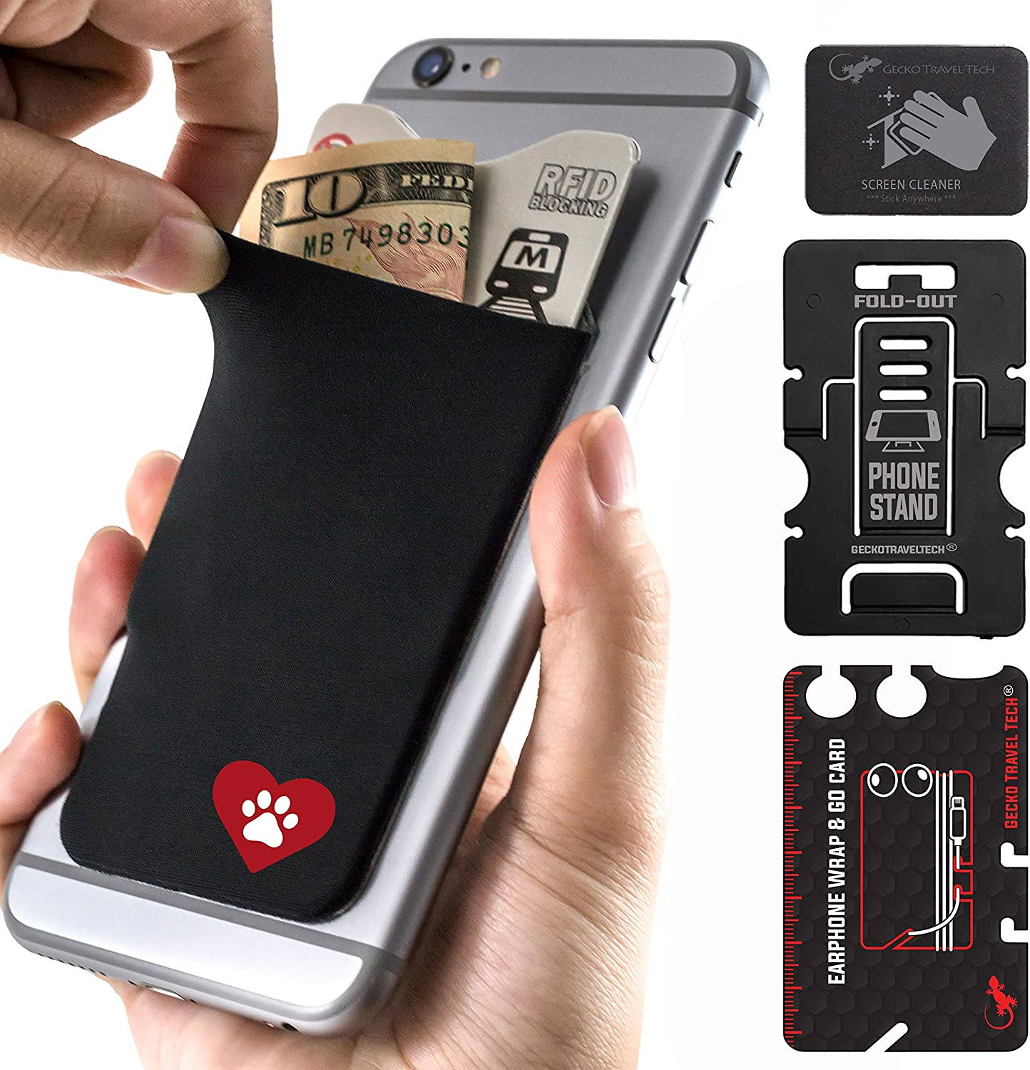 NATURE YY a Stick-On Stretchy Lycra Card holder Universally fits most Cell Phones /& Cases Gecko Adhesive Phone Wallet /& RFID Blocking Sleeve Xtra Tall Pocket Totally Covers Credit Cards /& Cash