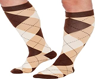 LISH Argyle Wide Calf Compression Socks - Graduated 15-25 mmHg Knee High Plus Size Support Stockings