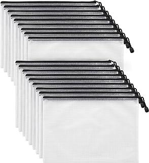 Mifflin Mesh Zipper Pouch Document Bag (Black, A4 Letter Size, 18 Bulk Pack), Clear Travel Zipper Bags, Waterproof Plastic...