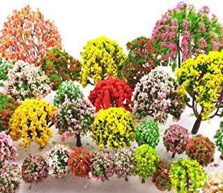 MOMOONNON 32 Pieces Model Trees 3.5cm - 10cm Mixed Model Tree Train Scenery Architecture Trees Fake Trees for DIY Crafts, ...