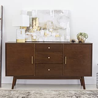 New 60 Inch Wide Mid-Century Modern Television Stand in Walnut Finish