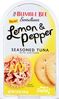 BUMBLE BEE Sensations Lemon and Pepper Seasoned Tuna with Crackers, Tuna Snack Kit, High Protein Food, Bulk Snacks, 3.6 Ounce Packages (Pack of 12)