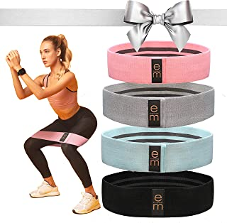 [4 Pack] Fabric Resistance Band Set - 3 Varied Tensions [2021 Upgrade] / Resistance Bands for Legs and Butt...