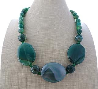 Collana con agata verde e giada naturale, girocollo pietre dure, gioielli contemporanei, bijoux fatti a mano, creazioni ar...