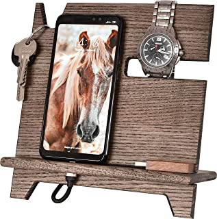 BarvA Wood Dock-ing Station Cell-Phone Smart-Watch Holder Men Charging Accessory Father Night-Stand Mobile Gadget Desk-top...