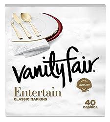 Vanity Fair Entertain Dinner Napkins, 40 Count, White Paper Napkins