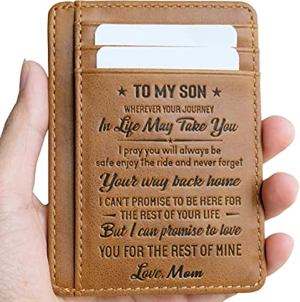 Card Holder Minimalist Wallets Gift for Son Daughter from Mom Wallet RFID Front Pocket Wallet