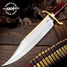 Gil Hibben Old West Bowie Knife - Bloodwood Edition - Stainless Steel Blade, Wooden Handle, Gold-Plated Guard, Leather Sheath - Length 20 1/2