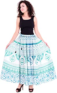 """Handicraft-Palace"""" Green Ombre Mandala Printed Cotton Long Women's Skirt Wrap Around Skirt High Waist Pleated Long Skirt"""