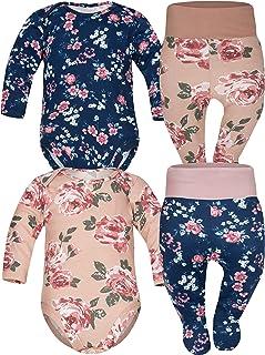 Sibinulo Jungen Mädchen Body Strampler  Hose mit Füßen Babykleidung Set Größen 0 bis 6 Monate, 4er Pack Rosen Mischen