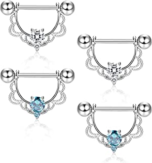 ORAZIO 4Pcs 14G 316L Stainless Steel CZ Opal Nipple Piercing Barbell Belly Button Ring for Women