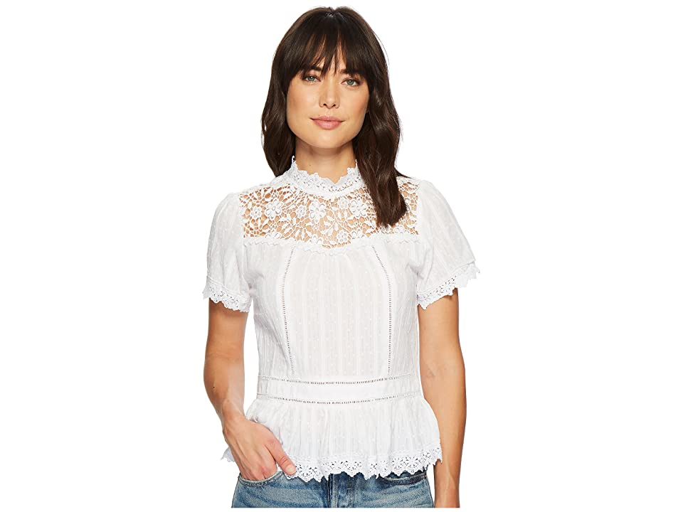 Miss Me Lace Floral Button Back Top (Off-White) Women