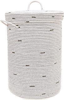 UMI Panier en coton pour laundry avec couvercle de 30 x 30 x 55 cm - Panier de rangement pour salle de bain, salle de séjo...