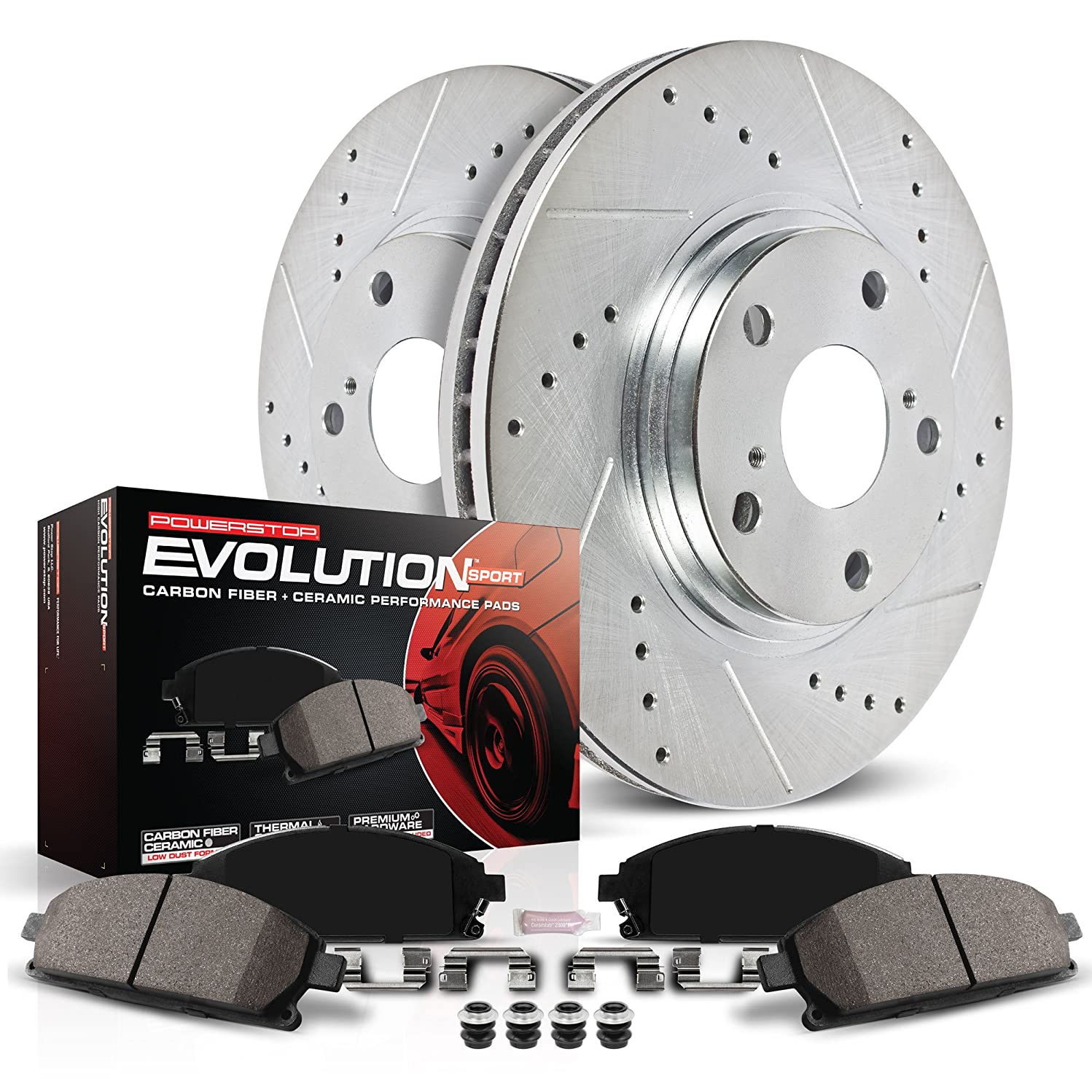 Power Stop K165 Front Z23 Evolution Brake Kit with Drilled/Slotted Rotors and Ceramic Brake Pads