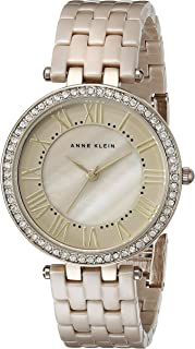 Anne Klein Women's AK/2130TNGB Swarovski Crystal Accented Gold-Tone and Tan Ceramic Bracelet Watch