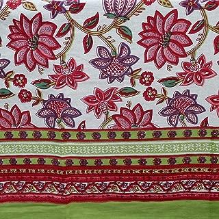 Handmade Floral Block Print Cotton Tapestry Tablecloth Throw Bed Sheet Beach Sheet Dorm Decor 60