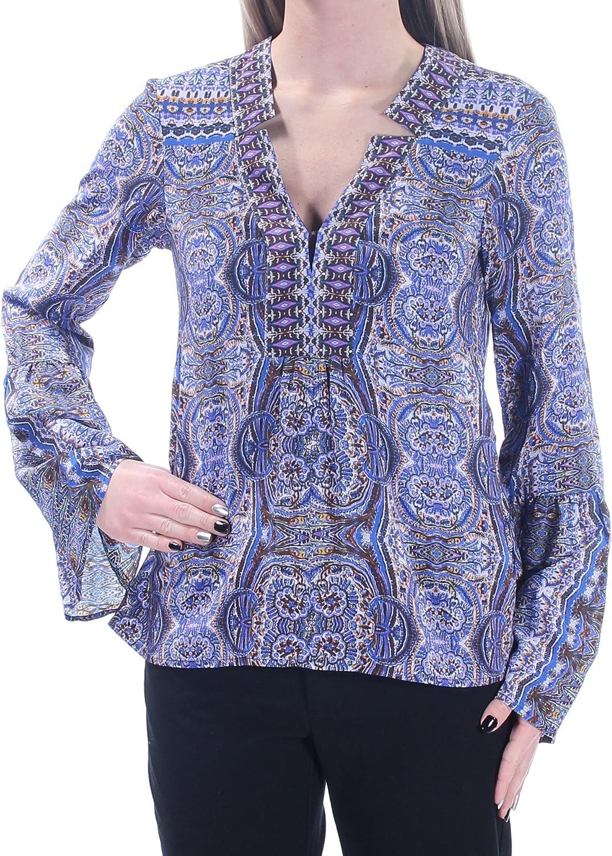 Nanette Lepore Womens Purple Printed Long Sleeve V Neck Top US Size  XS