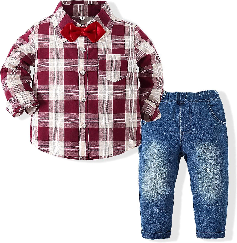 Baby Boys Getleman Clothes Set Plaid Shirts+Bowtie+Denim Pant Sets Infant Gentleman Autumn Outfit Set