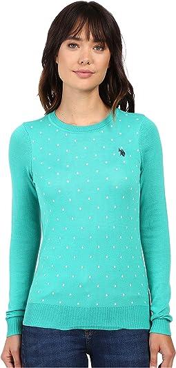 Polka Dot Crew Neck Sweater