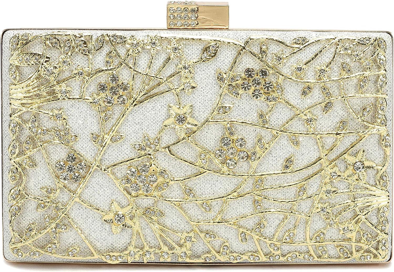 gold Evening Clutch Bags,Migubal Gorgeous Evening Handbag Purses For Wedding Prom Bride Girls Women