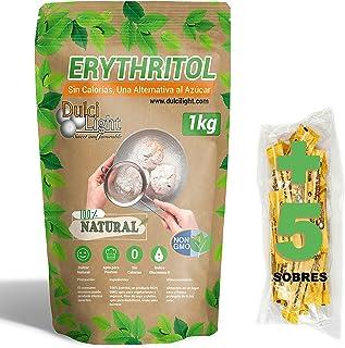 DULCILIGHT Eritritol Edulcorante 100% Natural 1 Kg con Cero Calorias + (5 sobres de obsequio Nuevo Edulcorante Moreno) Sus...