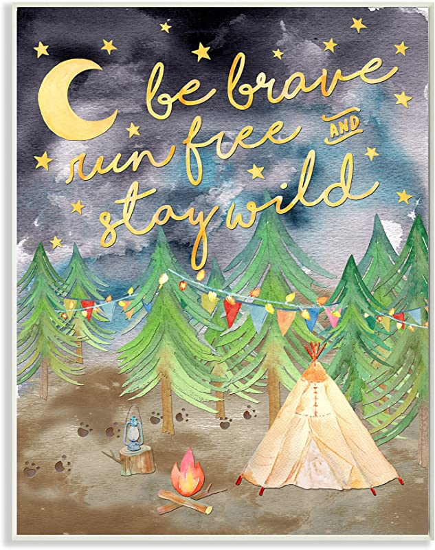 Stupell Home D Cor Be Brave Camping Painting Wall Plaque Art 10 X 0 5 X 15 Proudly Made In USA