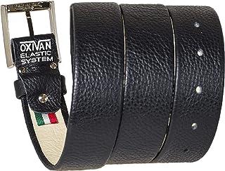 OXIVAN Cintura da uomo taglie forti con SISTEMA ELASTICO BREVETTATO in pelle nera made in italy 35 mm.