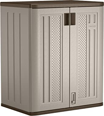 "Suncast Base Storage Cabinet - Resin Construction for Garage Storage - 36"" Garage Organizer with Shelving Holds up to 75 lbs. - Platinum Doors & Slate Top"