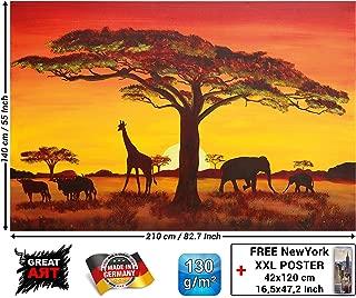 Mural – Sunset in Africa Wallpaper – Sunset Safari Animals Wall Picture Savannah Decoration Giraffe Buffalo Elefant Silhouettes XXL Wallpaper Photoposter Mural (82.7 x 55 Inch / 210 x 140 cm)