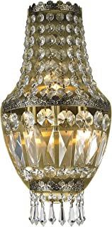 Worldwide Lighting W23086AB8 Metropolitan 3 Light Basket Wall Sconce, Antique Bronze Finish and Clear Crystal, Small Fixture, 8