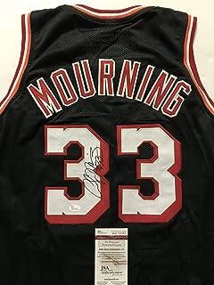 Autographed/Signed Alonzo Mourning Miami Black Basketball Jersey JSA COA