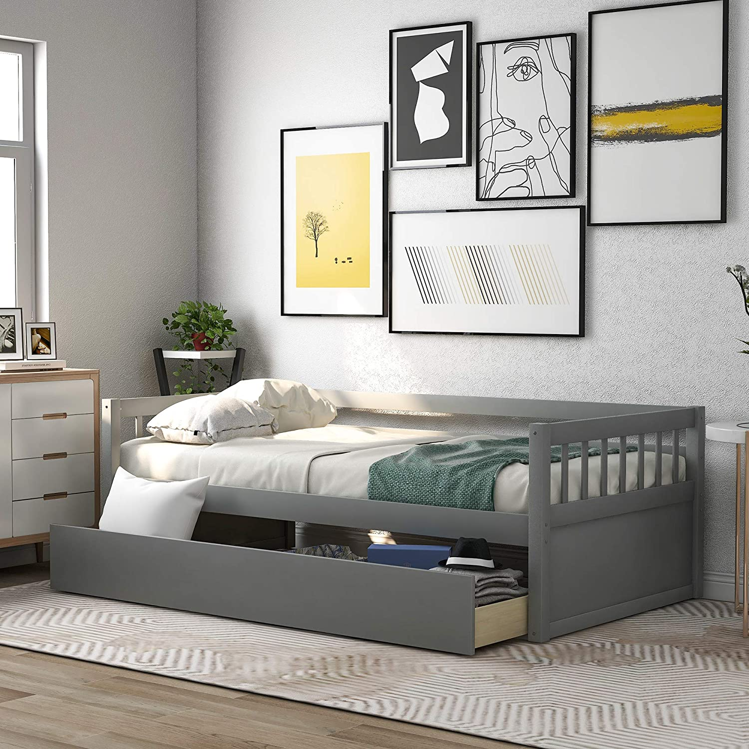 Twin Daybed with Storage Drawer depot 250lbs Capacity Rapid rise x 76