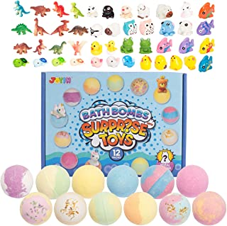 Bath Bombs with Surprise Toy Inside, 12 Packs Bubble Bath Bombs with Variety Suprise Toys, SPA Bath Fizzies Set, Great Gif...