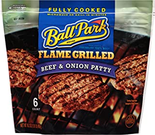 Ball Park Fully-Cooked Flame Grilled Beef & Onion Patties, 6 Count (Frozen)