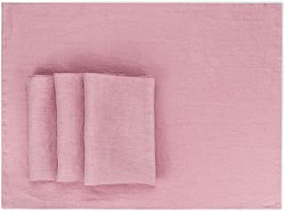 artésien maison French Linen Placemats - Rustic Farmhouse Style - Large 15x20 inch - Set of 4 (Dusty Rose - Pink) - Stonewashed Pure Linen Cloth Place Mats