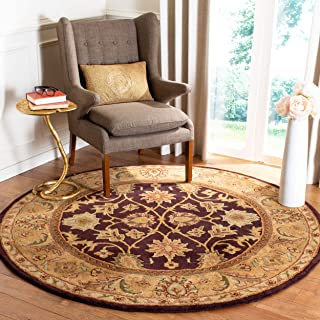 Safavieh Classic Collection CL244B Handmade Traditional Oriental Dark Plum and Gold Wool Round Area Rug (3'6