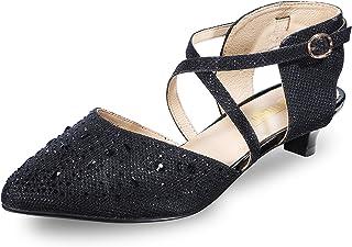 Women's Sequins Wedding Low Kitten Heels Pumps Ankle...