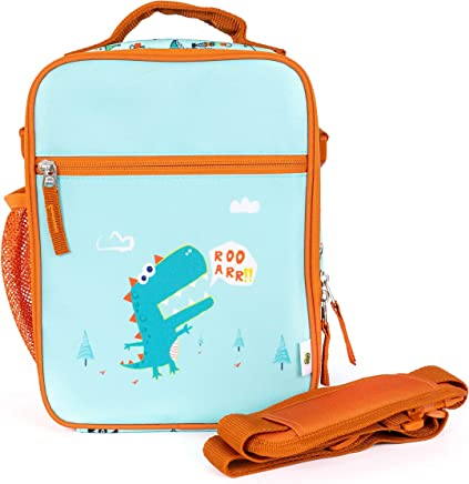 Thermal Citron Lunchbags with Shoulder Straps with Dino Print