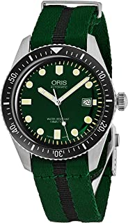 Oris Divers Sixty-Five Mens Green Face Luminous Watch - Green NATO Fabric Band Swiss Made Automatic Dive Watch 01 733 7720 4057-07 5 21 25FC