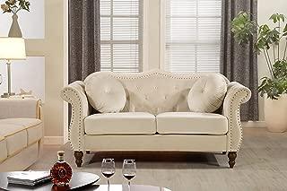 US Pride Furniture Loveseat, Ivory