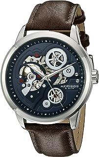 Akribos XXIV Men's Skeleton Watch - Mechanical Automatic Movement On Genuine Leather Strap Watch - AK855