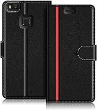 COODIO Custodia per Huawei P9 Lite, Custodia in Pelle Huawei P9 Lite, Cover a Libro Huawei P9 Lite Magnetica Portafoglio per Huawei P9 Lite Cover, Nero/Rosso