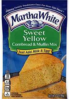 Martha White Cornbread and Muffin Baking Mix, Sweet Yellow, 7 Ounce Packages (Pack of 12