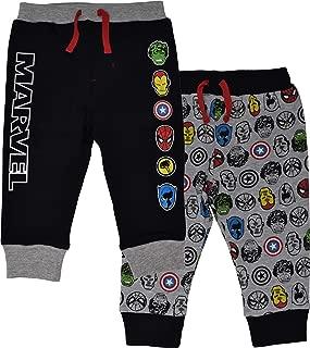 Marvel Avengers Baby Boys 2 Pack Jogger Pants with Drawstring, Black/Grey