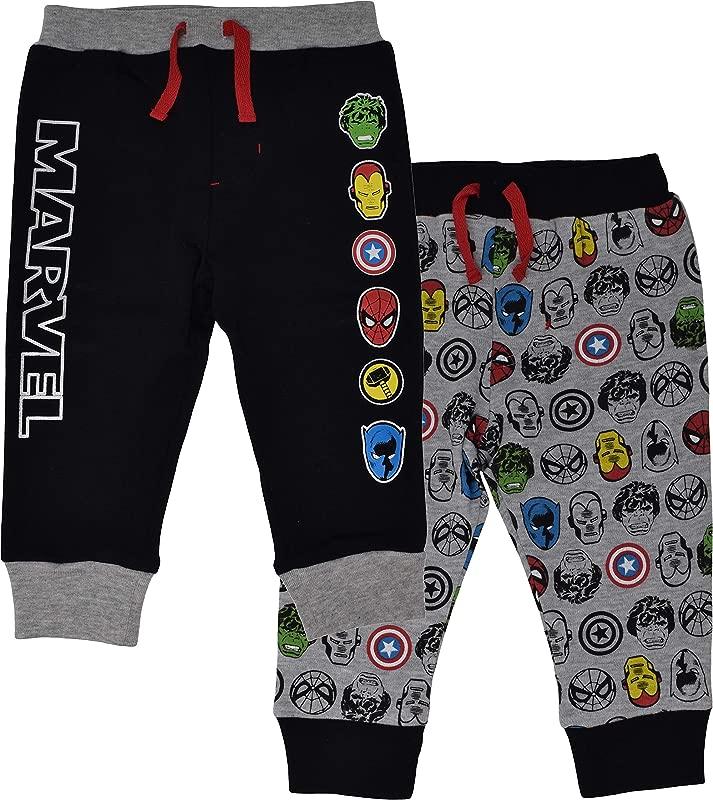 Marvel Avengers Baby Boys 2 Pack Jogger Pants With Drawstring Black Grey