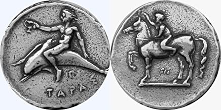 Golden Artifacts Percy Jackson Teen Gift, Taras with Horse and Dolphins, Greek Coin, Unique Gift, Stocking Stuffer (PJ15-S)