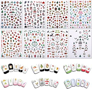 Christmas Nail Stickers, Holody 8 Sheets Cute Art Nail Decals Decorations for Kids and Women